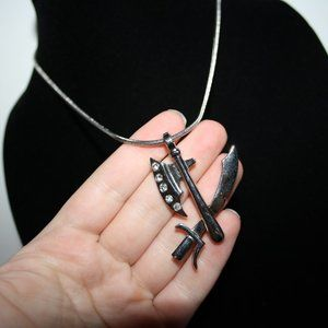 Vintagejelyfish Jewelry - Silver sword and hatchet necklace 18""